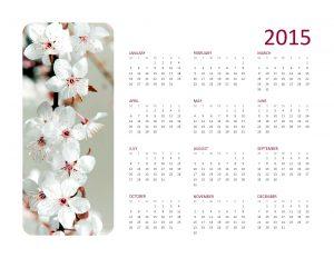 2015 yearly photo calendar (Mon-Sun)